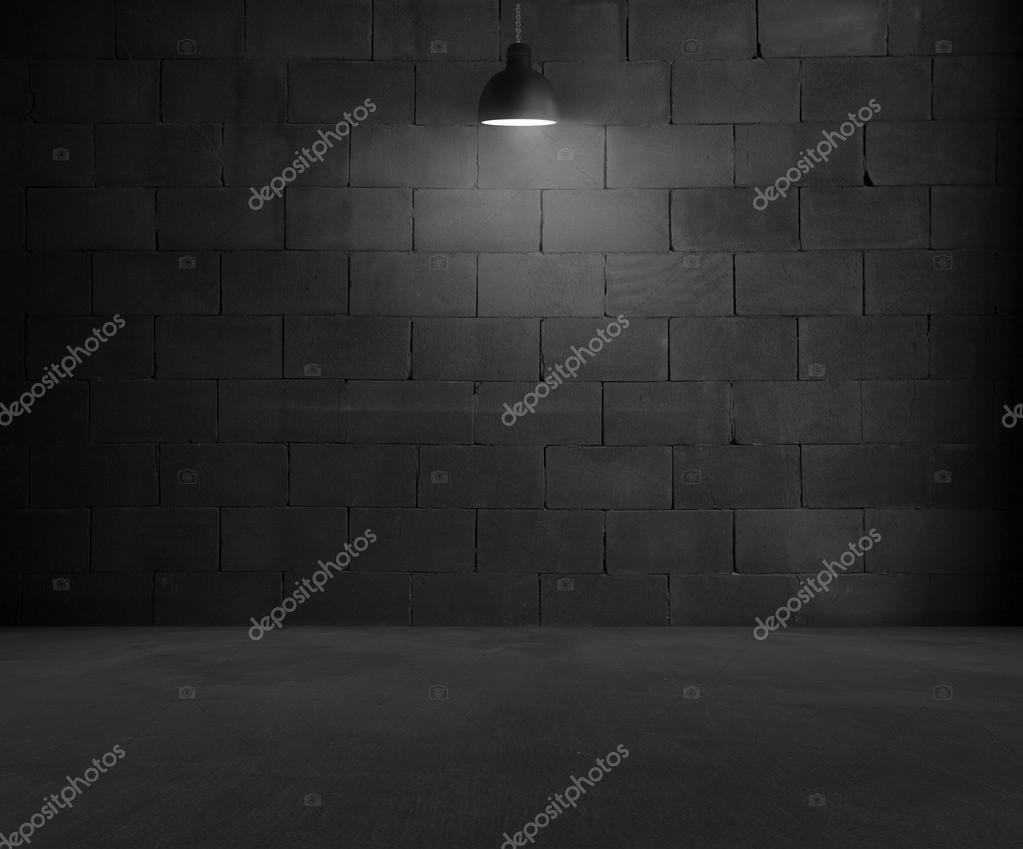 Black brick room interior design with lamp