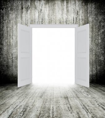 Conceptual image of white opened door