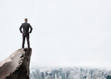 Businessman on mountain top