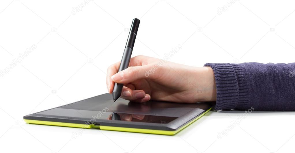 Zenska Ruka Kresleni Na Pocitaci Tablet Pc Stock Fotografie