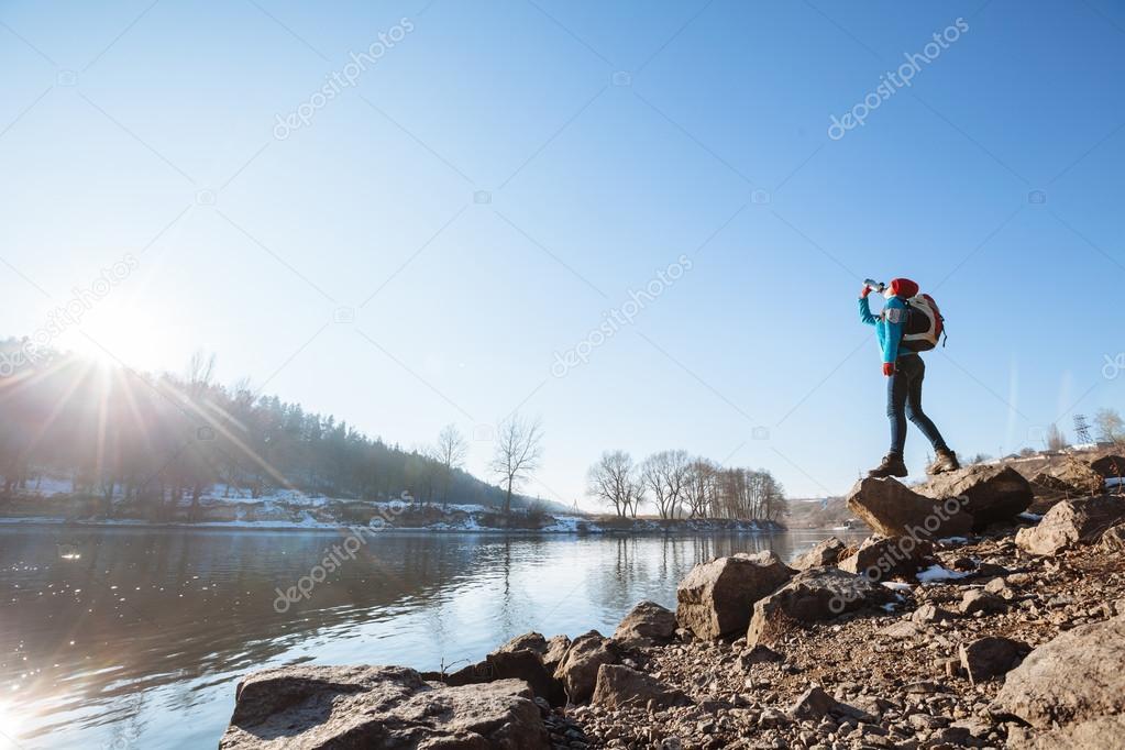 Girl hiking nature