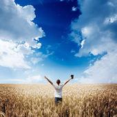 ember feltartotta a Biblia, a búza-mező