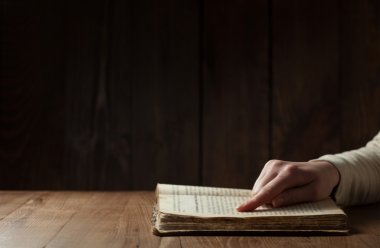 Female hands on Bible
