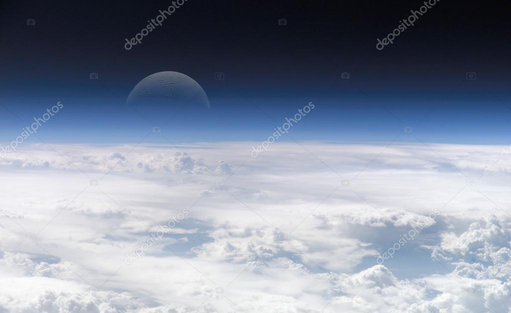 Moon far away from the earth with clouds