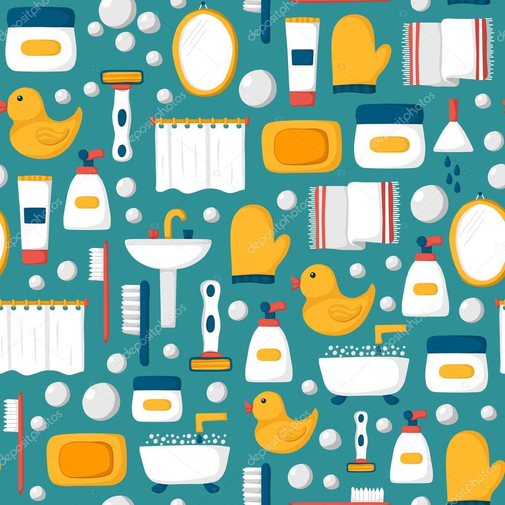Cartoon Bathroom Seamless Background
