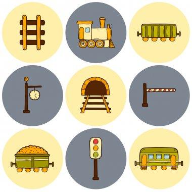 Railroad hand drawn icons