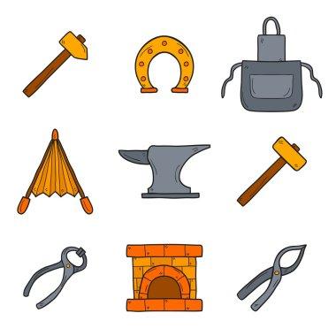 Blacksmith hand drawn icons