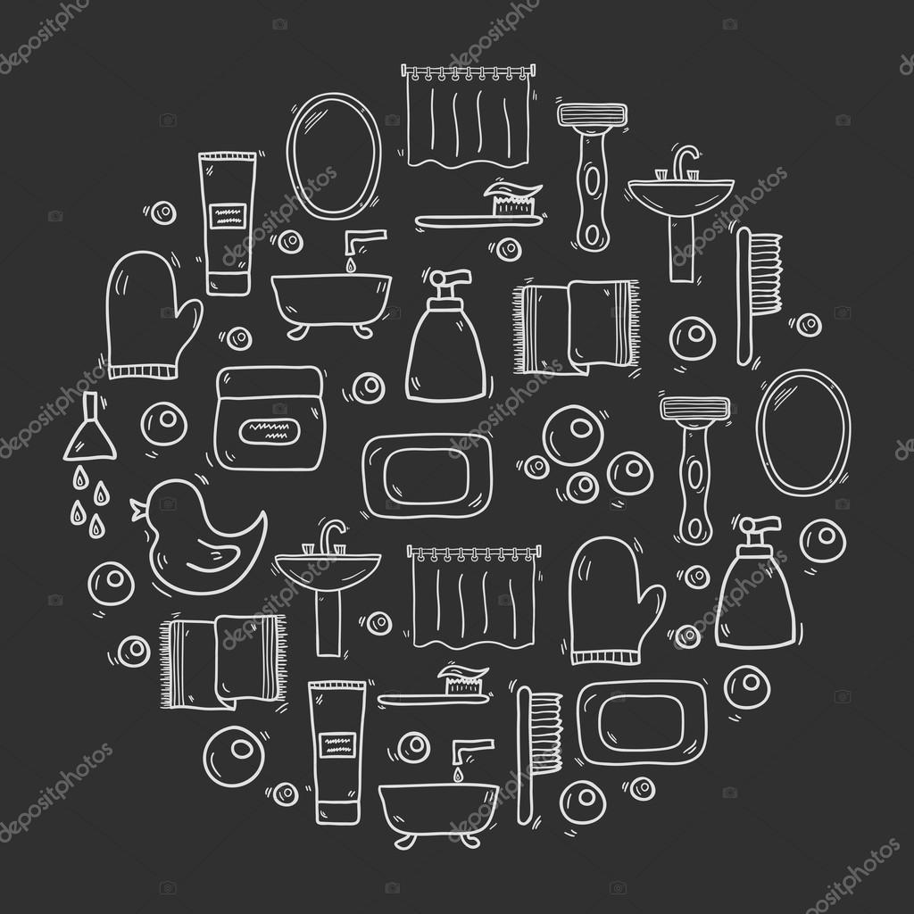 Vector Cartoon Bathroom Background Stock