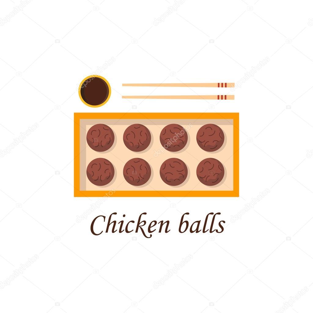 Vector Cartoon chinesische Küche Huhn balld — Stockvektor ...