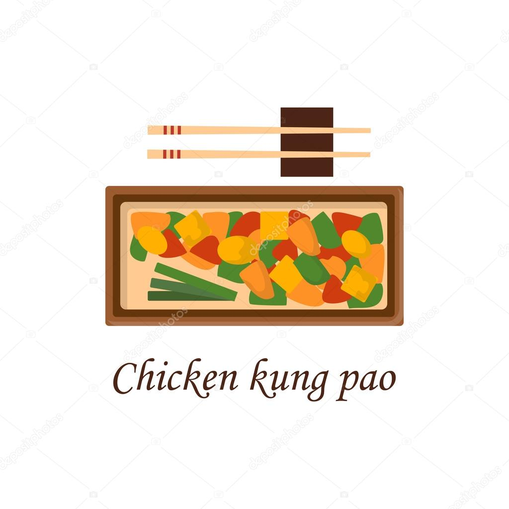 Vektor-Cartoon chinesische Hähnchen Kung Pao — Stockvektor ...