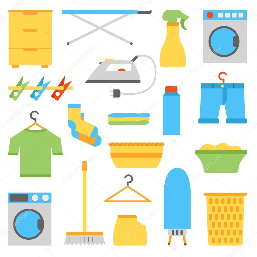 e373cf8c26 Lavatrice, asciugatrice, Ferro da stiro, clothes hanger, cesto della  biancheria, asse da stiro. Icone casa interne. Attrezzi per la casa piatta  per ...