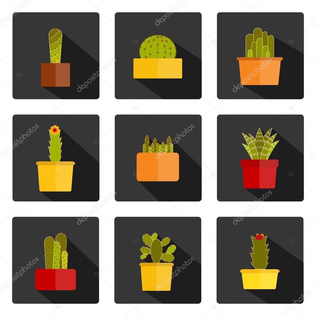 Set of flat cactus icons