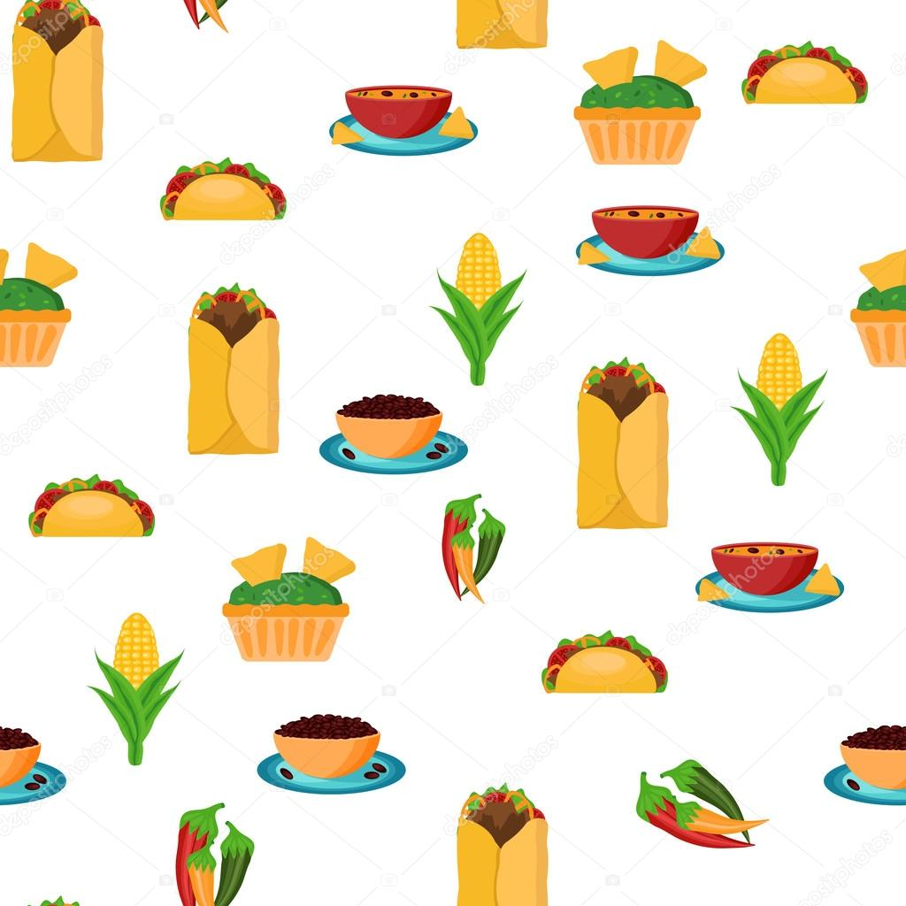 seamless backgound with cartoon mexican food stock vector rh depositphotos com cartoon american football players cartoon mexican food images