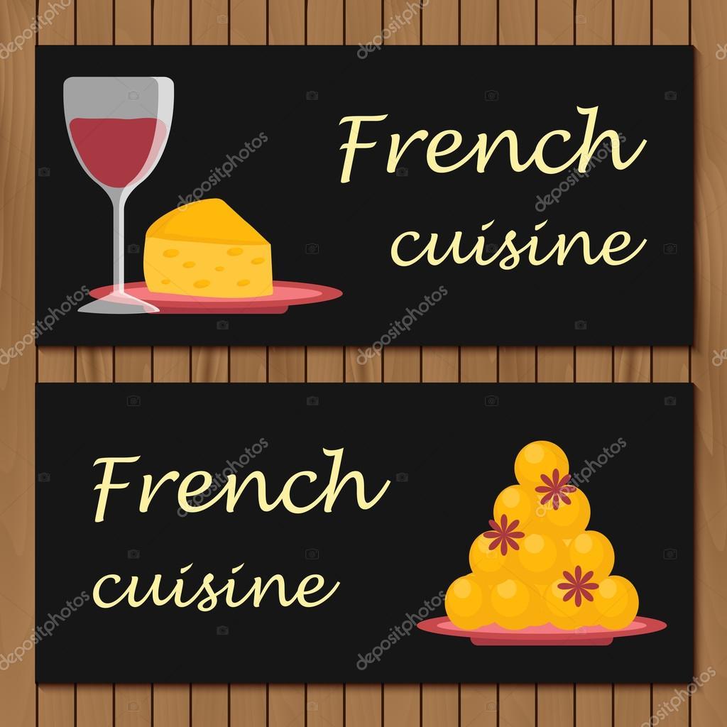 Vorlage für Menü, Karte oder Booklet mit Cartoon Französisch essen ...