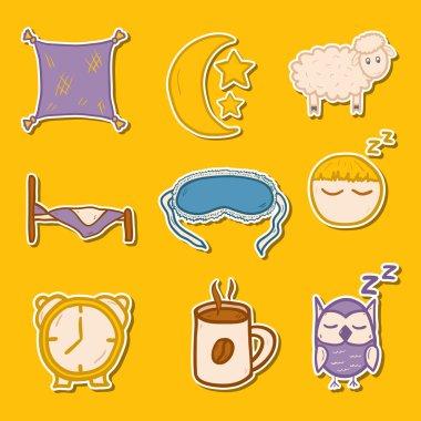 Set of hand drawn stickers on sleep theme