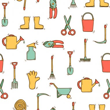 Seamless hand drawn background with garden tools