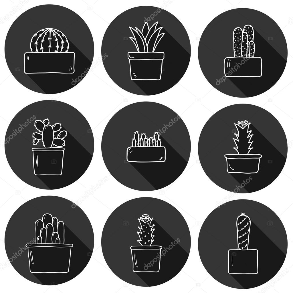 Set of cute hand drawn cactus icons