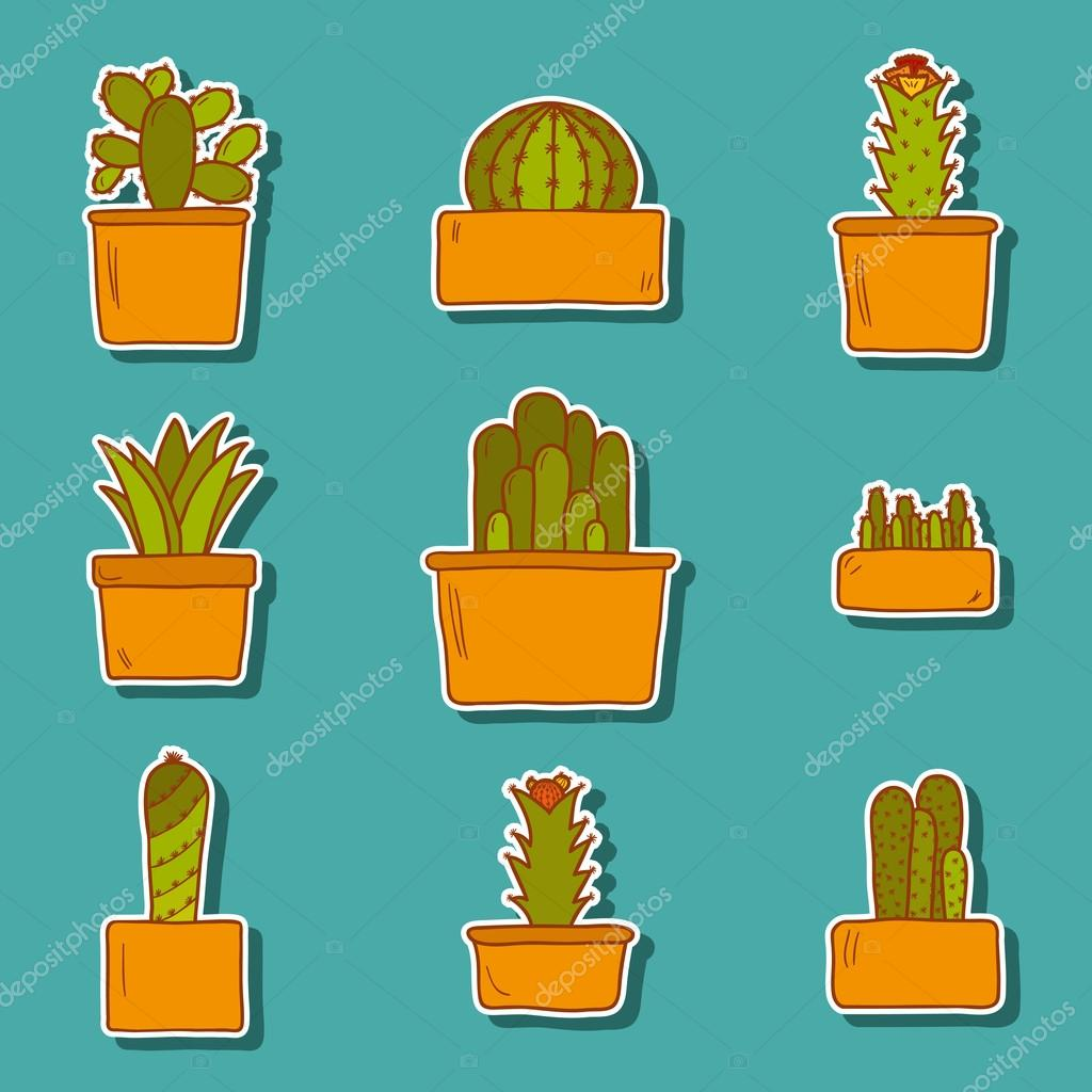 Set of cute hand drawn cactus stickers