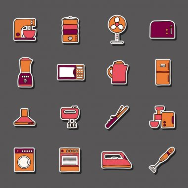 Set of hand drawn stickers on home appliance theme