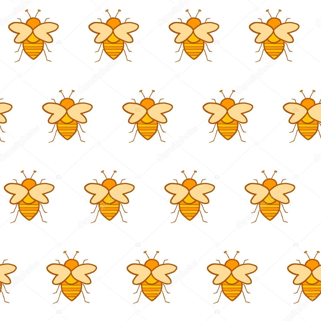 Seamless hand drawn background with bees