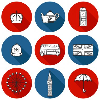 Set of cute hand drawn cartoon objects on London theme: queen crown, red bus, big ben, umbrella, london eye, telephone box. Travel concept for site, card, map