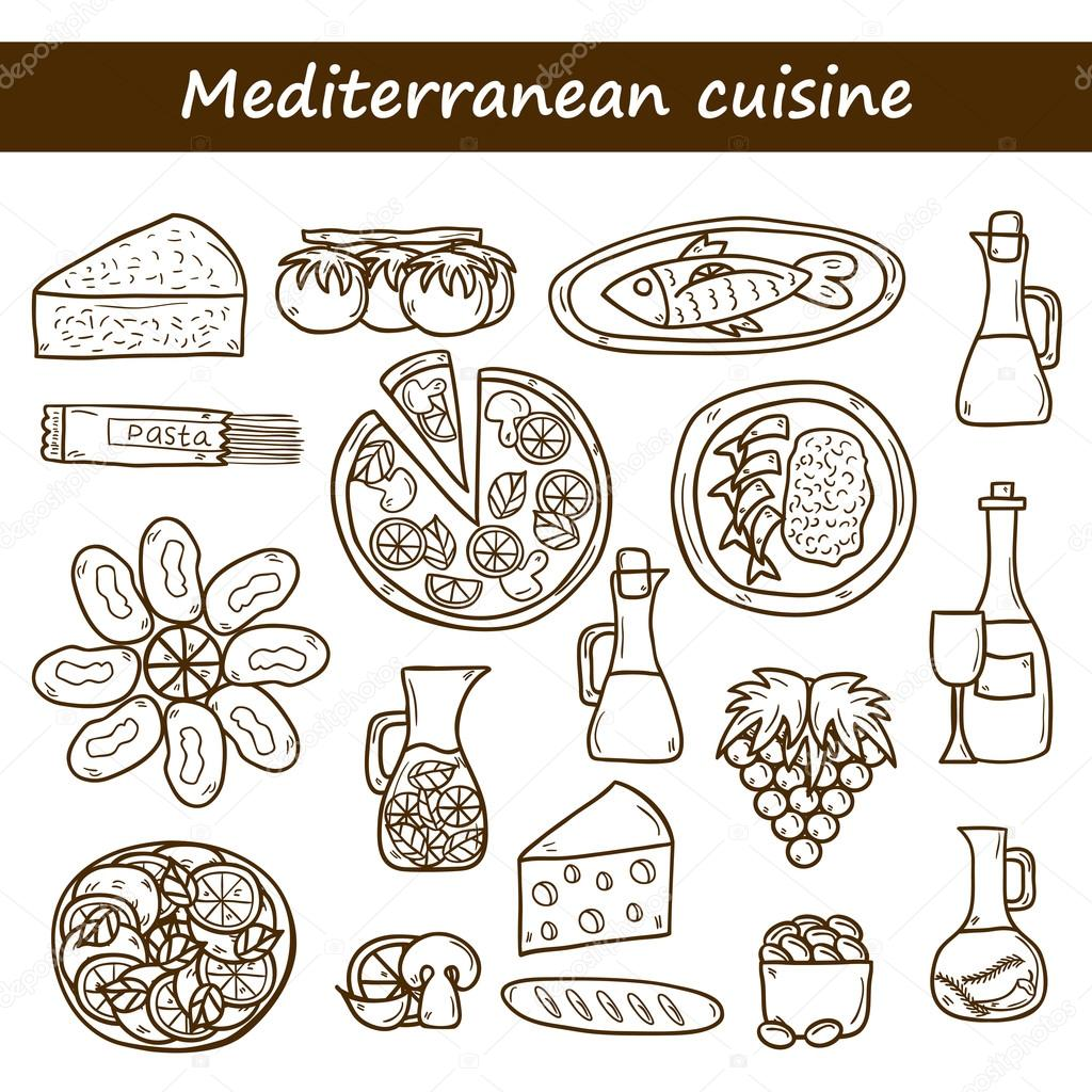 Set of cute hand drawn cartoon objects on mediterranean for About mediterranean cuisine