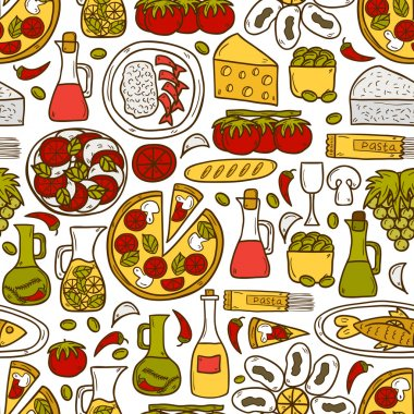 Seamless background with cute hand drawn cartoon objects on mediterranean cuisine theme: tomato, pasta, wine, cheese, olive, Ethnic food travel concept. Great for restaurant menu, card, site