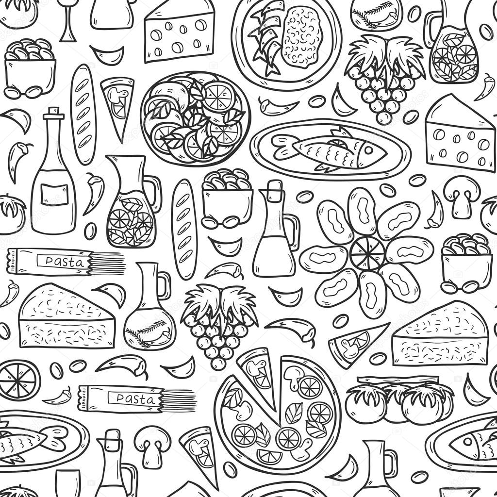 Seamless Background With Cute Hand Drawn Cartoon Objects