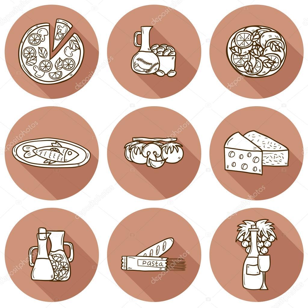 Insieme di carina a mano dei cartoni animati disegnato oggetti ...