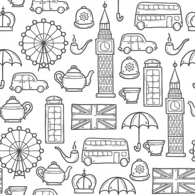 Seamless background with cute hand drawn cartoon objects on London theme: queen crown, red bus, big ben, umbrella, london eye, telephone box. Travel concept for site, card, map
