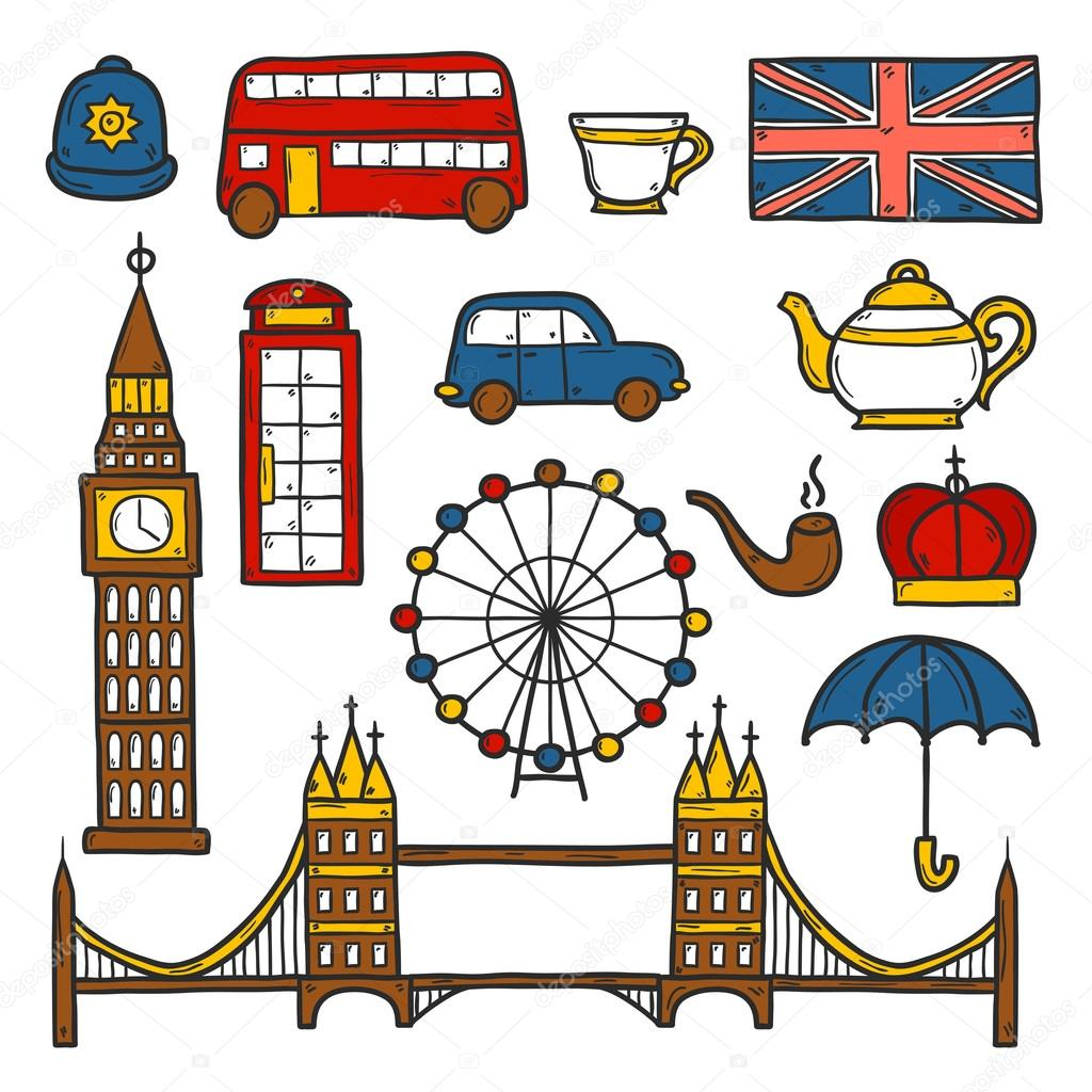 Set of cute hand drawn cartoon objects on london theme queen crown red bus - Objet typique anglais ...