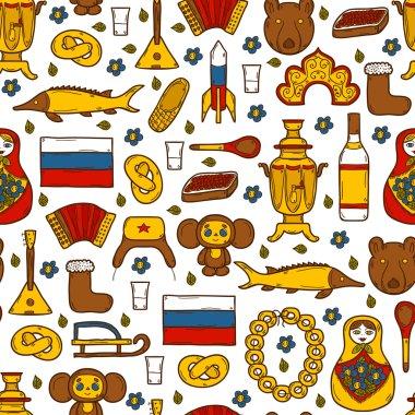 Seamless background with cute hand drawn objects on Russia theme: balalaika, vodka, bear, ushanka, matrioshka, rocket. Travel concept