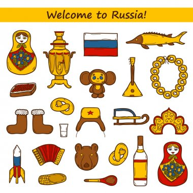 Set of hand drawn objects on Russia theme: balalaika, vodka, bear, ushanka, matrioshka, rocket. Travel concept