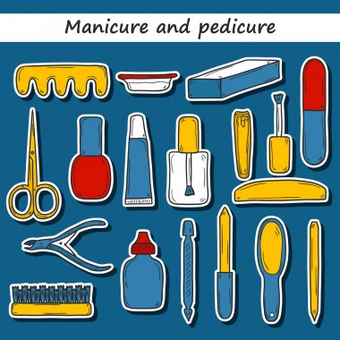 Set of cute hand drawn stickers on manicure pedicure theme: clippers, polish, file, nipper, creams. Beauty concept