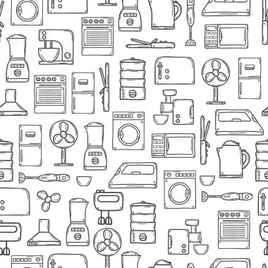 Seamless background with objects in hand drawn cartoon outline style on home appliance theme: fridge, kettle, microwave, steamer, mixer, iron, stove. House care and housekeeping concept