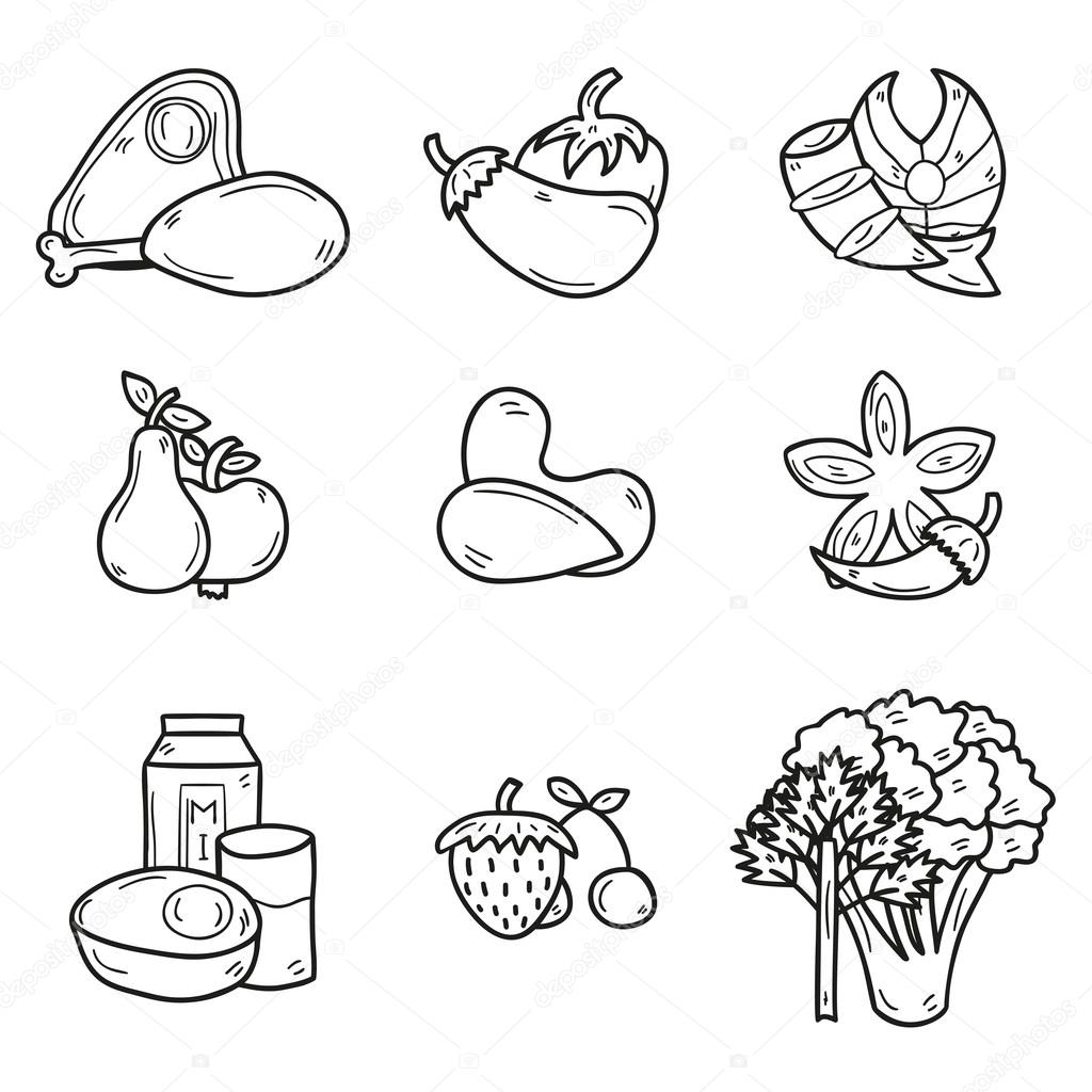set of objects in hand drawn outline style on paleo diet theme