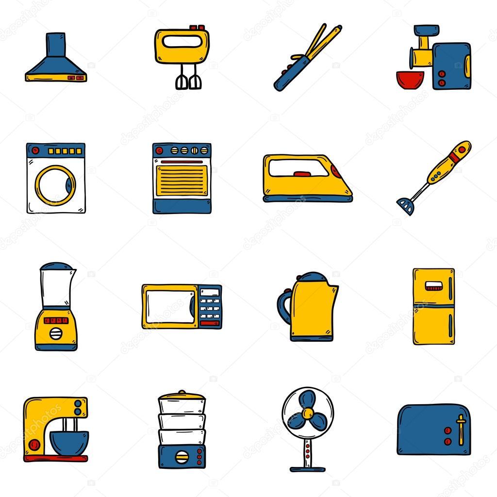 Conjunto de objetos estilo dibujado a mano dibujos - Electrodomesticos la casa ...