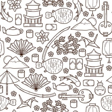 Seamless background with objects in hand drawn outline style on Japan theme: geisha, sword, sushi, sakura, lantern, origami. Travel japanese consept
