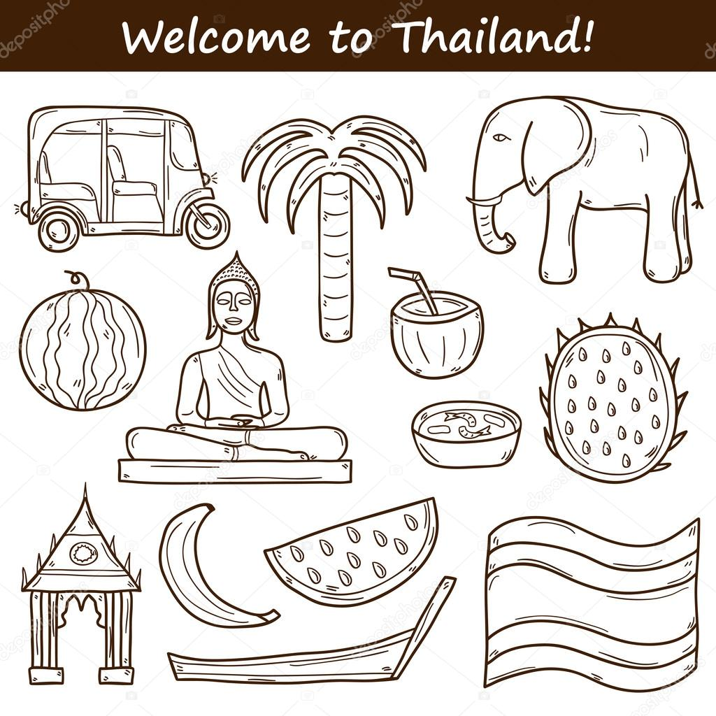 Set of cartoon outline objects in hand drawn style on thailand set of cartoon outline objects in hand drawn style on thailand theme taxi buddha flag fruits elephant palm vector asia travel concept for your design biocorpaavc Choice Image
