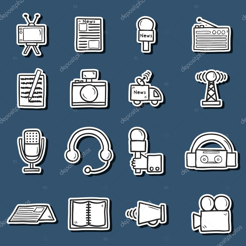 Set of stickers in hand drawn catroon style on journalism theme: newspaper, tv, antenna, microphone, camera, van. Mass media concept