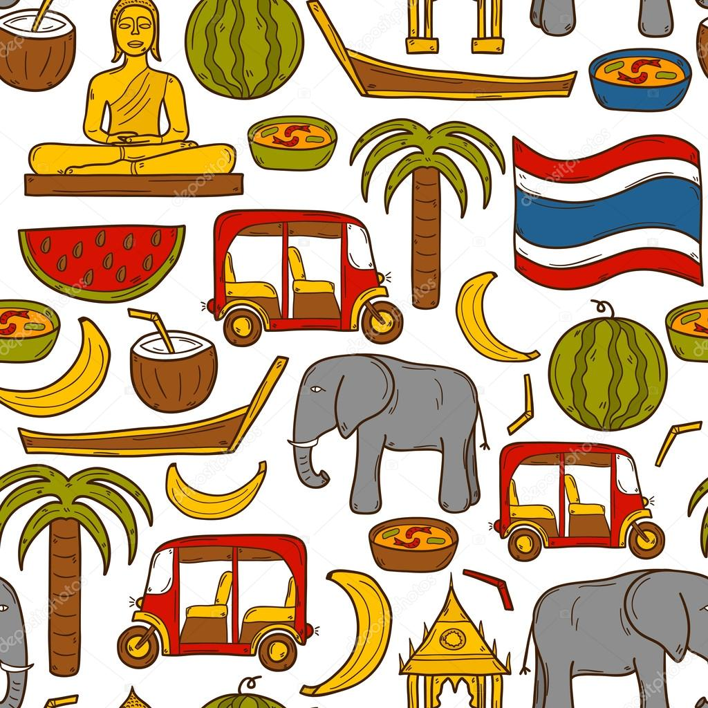 Seamless background with cartoon objects in hand drawn style on Thailand theme: taxi, buddha, flag, fruits, elephant, palm. Vector asia travel concept