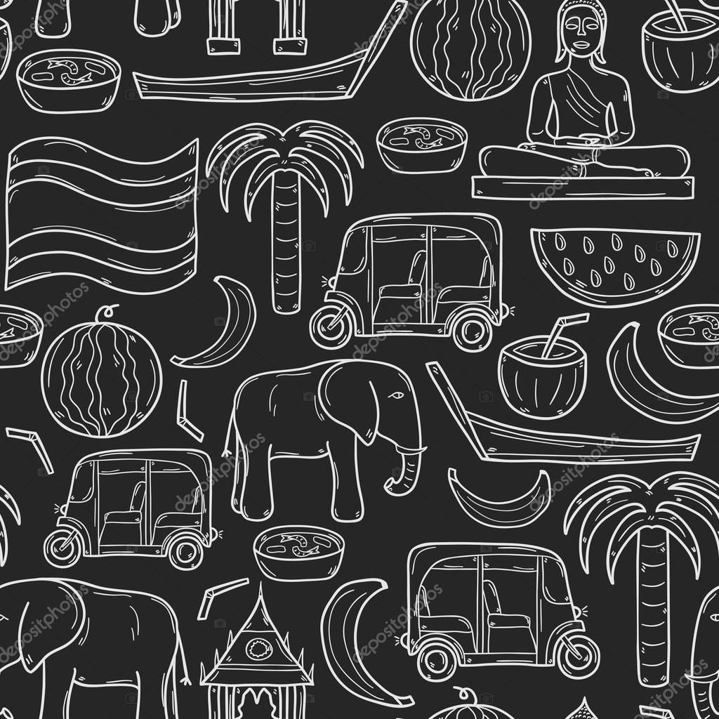 Seamless background with cartoon outline objects in hand drawn style on Thailand theme: taxi, buddha, flag, fruits, elephant, palm. Vector asia travel concept