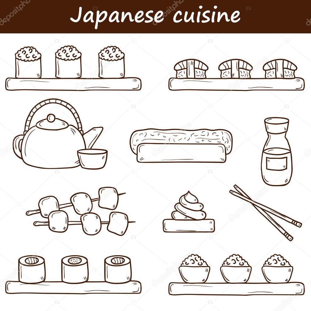 Satz von niedlichen Cartoon hand gezeichneten Symbole auf japanische ...