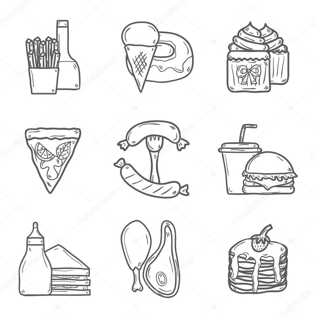 Conjunto De Objetos De Desenho Animado Sobre O Tema Comida Americana