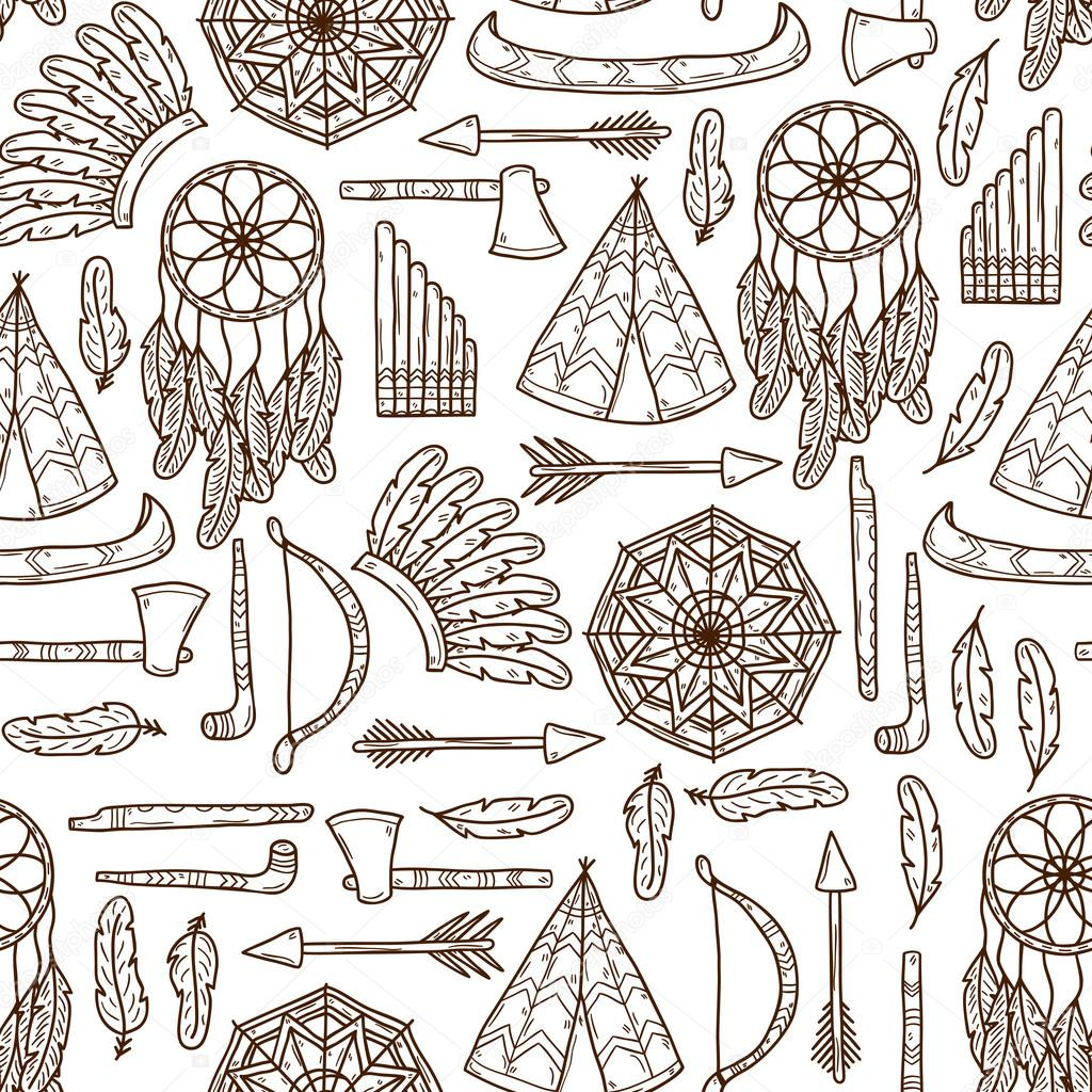 Seamless background with hand drawn objects on injun theme: tomahawk ...