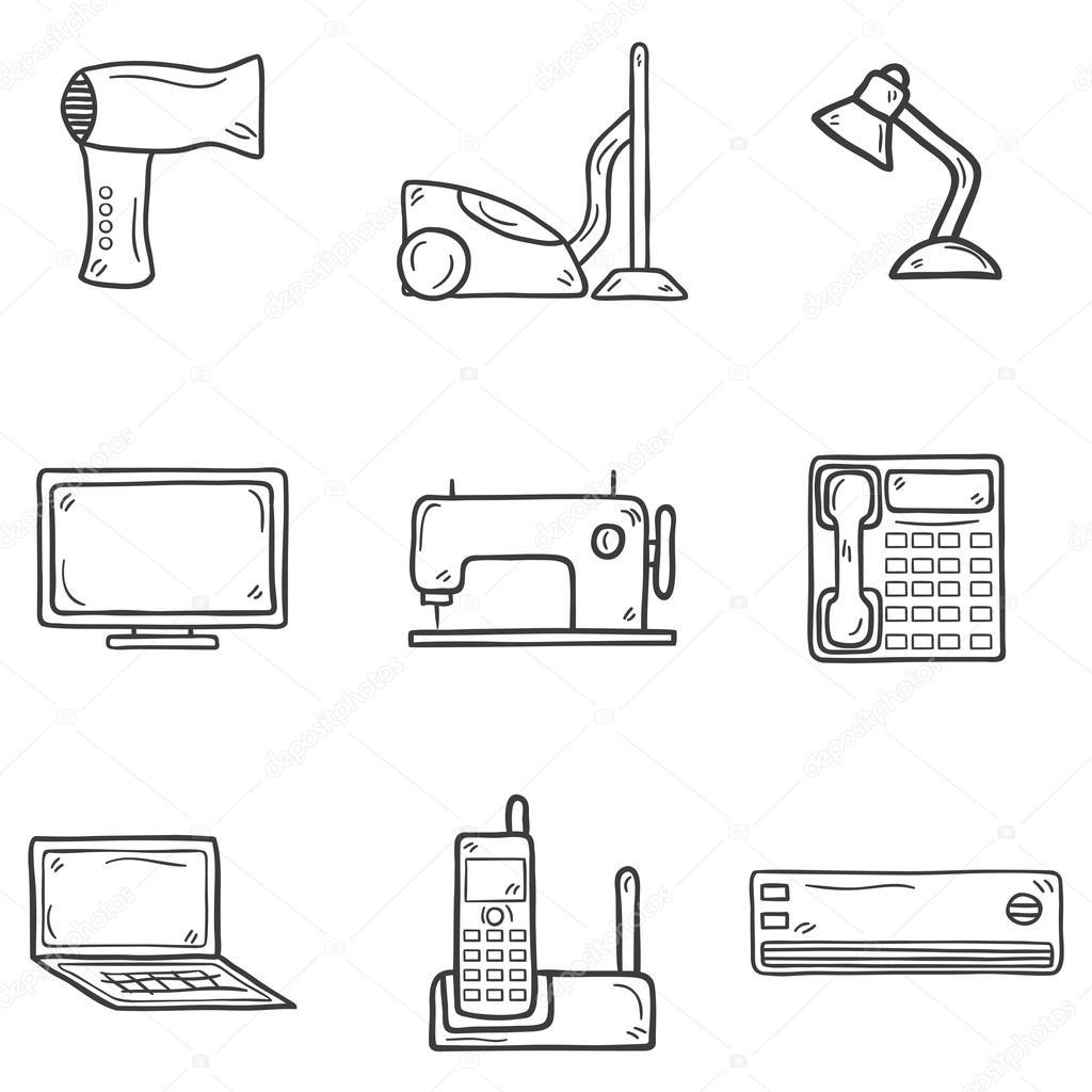 Satz von Cartoon hand gezeichnete Objekte Haushaltsgerät-Thema ...