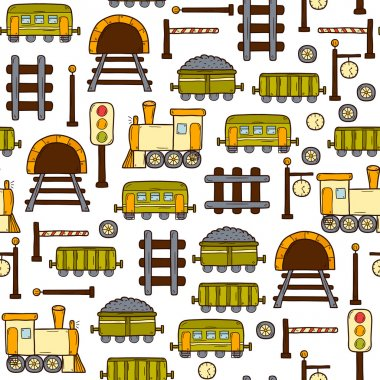 Vector seamless background with hand drawn railroad objects: wagons, semaphore, railway station clock, locomotive, barrier, tunnel. Transport shipping delivery or travel concept