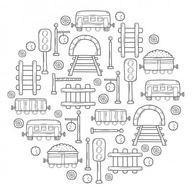 Vector background in circle shape with hand drawn railroad objects: wagons, semaphore, railway station clock, locomotive, barrier, tunnel. Transport shipping delivery or travel concept