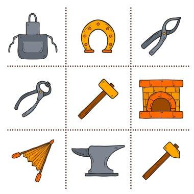 Set of cartoon icons in hand drawn style on blacksmith theme: horseshoe, sledgehammer, vise, oven