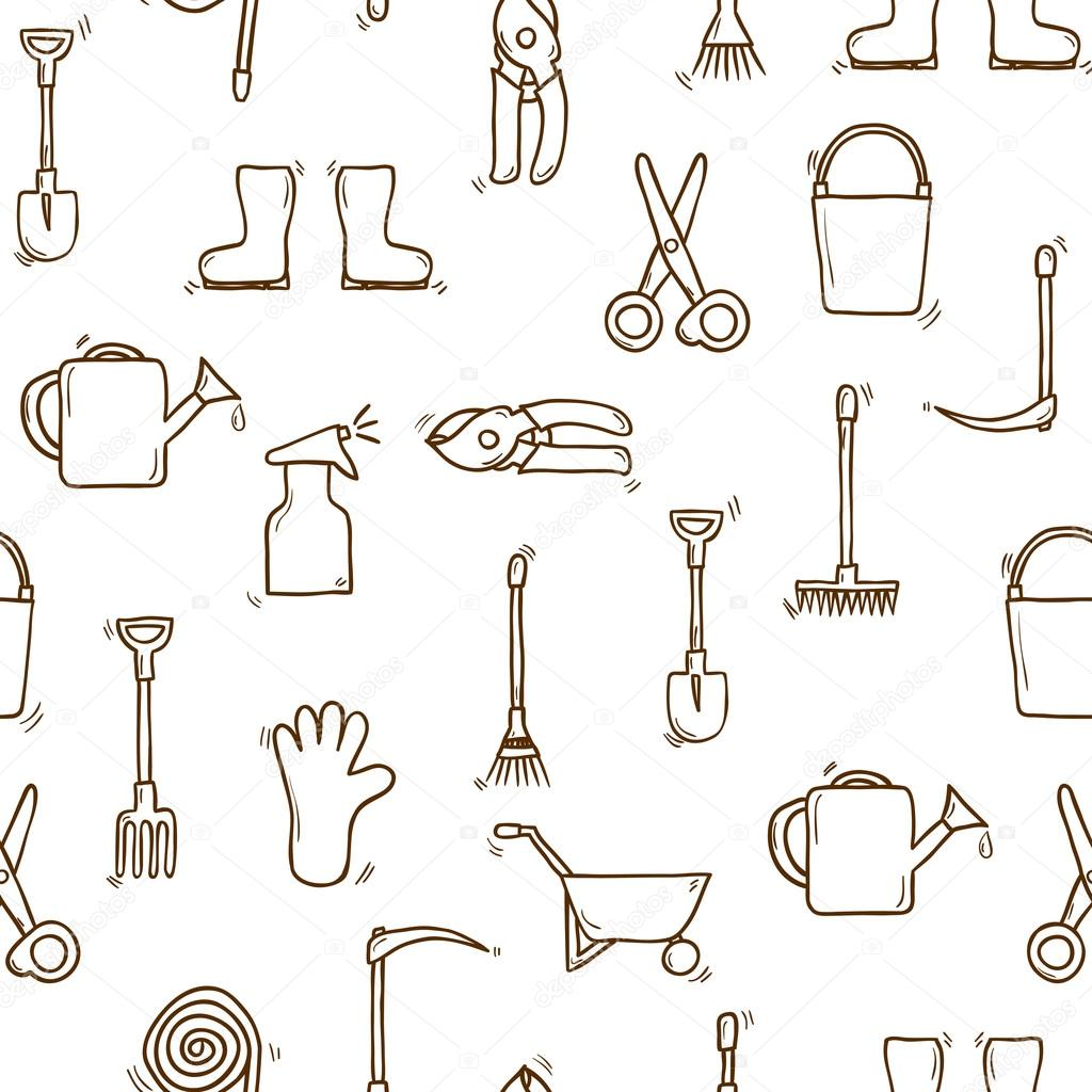 Seamless garden tools background